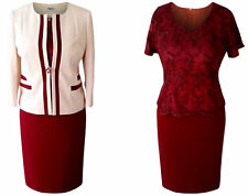 SIZE 20 MOTHER OF THE BRIDE GROOM OUTFIT 3 PIECE JACKET TOP SKIRT CREAM BURGUNDY