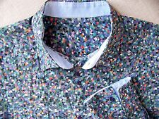JUST CAVALLI Blue Multi-Print Cotton Button-Up Flip-Cuff Sport/Dress Shirt XL