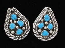 Navajo Indian Earrings Turquoise Post Sterling Silver Tiffany Jones