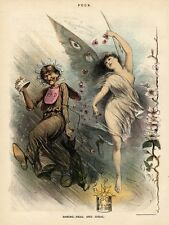 PUCK VINTAGE CHROMOLITHOGRAPH SPRING SOLAR BATTERY HAGGARD WOMAN LOVLY MAIDEN
