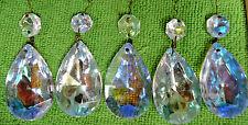 "5 VTG AB rainbow AURORA BOREALIS appx 3"" TEARDROP Crystal Prism Chandelier Lamp"