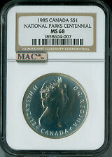 1985 CANADA SILVER DOLLAR NGC MAC MS68 PQ 2ND FINEST GRADED SPOTLESS  *