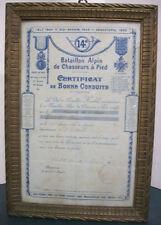FRANCE - CERTIFICAT DE BONNE CONDUITE 14° BAT ALPIN DE CHASSEURS A PIED