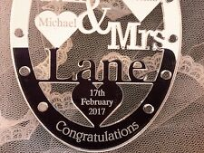 Personalised wedding gift horse shoe Mrs and Mr bride and groom Mr & Mrs Lane