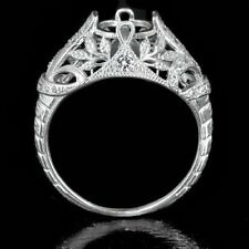 VINTAGE ENGAGEMENT FLORAL SEMI MOUNT ROUND DIAMOND SETTING RING ART DECO 14K WG