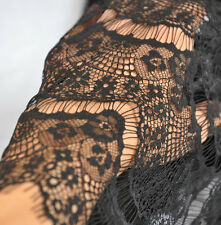 Black Lace Fabric  Crochet Fabric Eyelash Lace Scalloped Edges Fabric Tulle