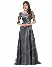 1/2 Long Sleeve Evening Formal Party Ball Gown Prom Wedding Pageant Dresses MAXI