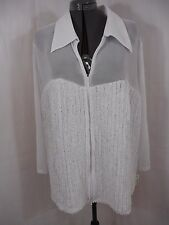 D&Y Evening Women's Dressy White 3/4 Sleeve Zip Front Blouse Jacket Size 3X NWT