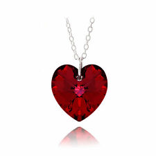 UK SELLER Sterling Silver Heart Austrian Crystal RED Necklace Pendant