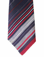 1970s vintage M&S tie striped St Michael Red white Navy blue stripes