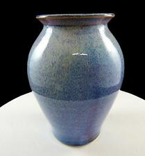 "STUDIO ART POTTERY SIGNED FLAMBE BLUE AND PURPLE DRIP GLAZE 5 3/4"" VASE"
