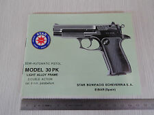 USER MANUAL STAR PISTOL 30 PK 9mm parabellum MANUALE USO MANUTENZIONE PISTOLA