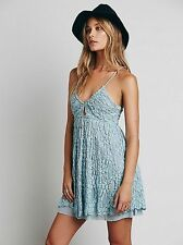 NWT Free People Nicolette Lace Spaghetti Strap Mini Dress SEAFOAM,sz.S