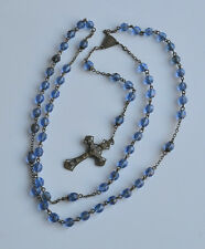 Antique BLUE FACETED CRYSTAL GLASS BEAD CATHOLIC ROSARY CHRISTIAN PRAYER BEADS