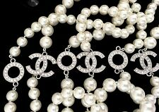 "AUTH CHANEL PEARL 66"" NECKLACE ""CC & KISS"" XOXO CC DIAMANTE LOGOS CURRENT"