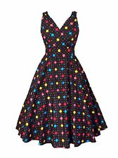 Womens Black Bright Polka Dot Cotton Retro Vintage 50s Swing Party Dress Size 12