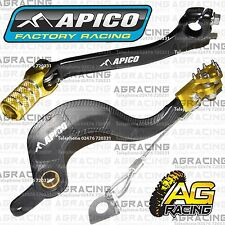Apico Black Yellow Rear Brake & Gear Pedal Lever For Suzuki RMZ 250 2014 MX