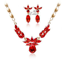 Fashion Red Zircon Necklace Earrings Set Gold Plated Wedding Jewelry Sets