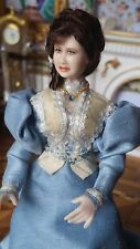 Miniature Dollhouse Artisan Porcelain Lady Doll Enameled Flower