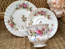 ROYAL ALBERT BONE CHINA TRIO CUP SAUCER PLATE SET MOSS ROSE PINK FLORAL MONTROSE