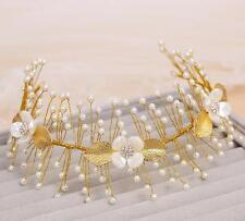 Wedding Bridal Crystal Pearl Gold Hair Accessories Headband Tiara Headpiece