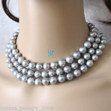 """49"""" 9-11mm Silver Gray Freshwater Pearl Necklace Pearl Strand Off Round Cultured"""