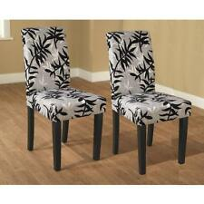 Parson Black and Silver Rubber Wood Dining Chairs Set of 2 Kitchen Living Room