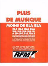 PUBLICITE  ADVERTISING  1991    RFM radio    PLUS DE MUSIQUE MOINS DE BLA BLA