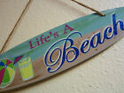 ~LIFE'S A BEACH MARGARITA LUAU PARTY WOODEN SIGN PLAQUE SURFBOARD