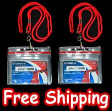 2 Cruise Ship ID Card Holders w Red Lanyard for Carnival Sail and Sign
