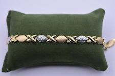 "7"" Diamond Cut Kisses Bracelet 14K Yellow White Two-Tone Gold Clad Silver 925"