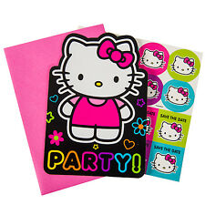 HELLO KITTY Neon Tween INVITATIONS (8) ~ Birthday Party Supplies Stationery Card