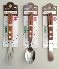 SANRIO HELLO KITTY Wooden handle cake Fork & tea Spoon & Butter knife F/S japan
