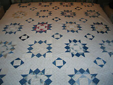 HTF Antique Hand Pieced~Quilted 9 Point STAR-Devils Claw Quilt c1800s