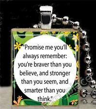Scrabble Tile Pendant Inspirational Jewelry Promise Me Quote Winnie The Pooh