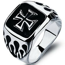 Size 7-15 Stainless Steel Cross Ring Crusader School Graduation Husband Gifts