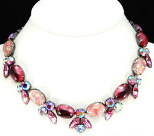 1950s Regency Necklace with Foiled Cabochons Pink Rhinestones Vintage