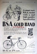 1938 B.S.A 'Gold Band' Vintage Bicycle ADVERT #2 - Original Cycling Print Ad