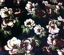 "New Top Quality Heavy Velvet Fabric Brown/cream Floral  Print 60"" Wide £7.99"