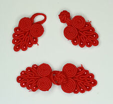 5 pairs  frog fasteners button knots Colour: Red #4