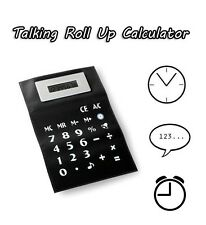 A4 Roll Up Flexible Talking Calculator Auto Off Clock Time Alarm Magnetic Strip