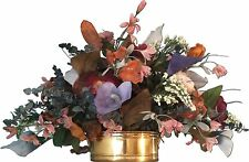 Large Silk Faux Flower Arrangement Lilies Red Orange Purple in Gold Planter Pot