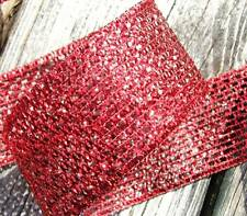 "5 Yds Christmas Red Metallic Mesh Wired Ribbon 2""W"