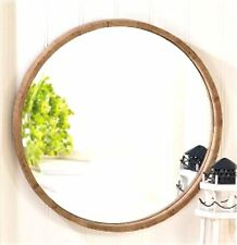 "Rustic Chic ** ROUND NATURAL FIR WOOD FRAME WALL MIRROR  * 17.5"" * NIB"