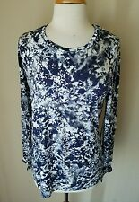 NWT Simply Vera Wang Women's Purple Floral Scoop Neck Tee Knit Top L