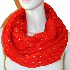 New Red Light Weight All Season Heart Gliding Crinkle Infinity Scarf Loop Cowl