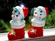 "VINTAGE CHRISTMAS CATS KITTENS IN SANTA BOOT SALT & PEPPER SHAKERS 4"" TALL JAPAN"
