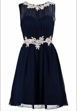 Little Mistress Navy Flower Appliqué Christmas Party Dress Size 12