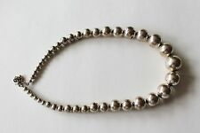 Vintage Silver Tone Round Multi Size Ball Bead Choker Necklace