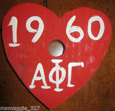 1960 Vintage ALPHA PHI GAMMA Sorority Party Favor Wooden RED HEART Candle Holder